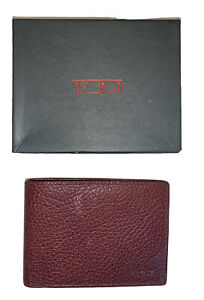 New Mens TUMI Red Textured Leather Slim Single Wallet Billfold