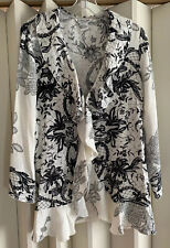 CITRON Beautiful Black/White Pure Silk Butterfly Floral Ruffle Front Jacket~M