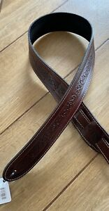 Leather Craft Celtic Embossed Brown Guitar Strap