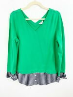 CROWN & IVY Green Gingham Layered Blouse Top Size Medium Long Sleeves Blue