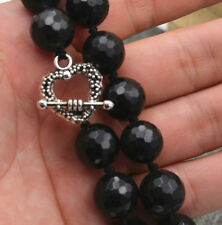 Natural 12mm Faceted Black Agate Round Gemstone Beads Necklace 18''