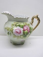 VINTAGE LEFTON CHINA FLORAL PATTERN PITCHER WITH GOLD TRIM AND SCALLOPED HANDLE