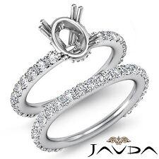 Diamond Engagement Half Eternity Ring Oval Bridal Settings 18k Gold White 1.5Ct