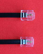 """RJ11 a RJ11 """" 20m"""" ADSL 2 fili a banda larga Cavo Nero per Router per ADSL FILTRO"""