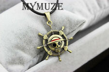 New One Piece Luffy Straw Hat Skull Pirate Merry Symbol Rudder Pendant Necklace