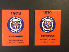 Detroit Tigers Baseball Pocket Schedule Lot 1978 & 79 Vintage Original
