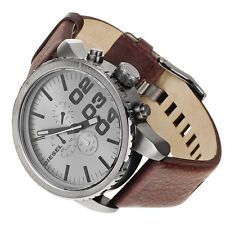 NEW DIESEL GUN METAL DIAL,BROWN LEATHER BAND CHRONOGRAPH WATCH-DZ4210+BOX