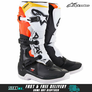 Alpinestars Tech 3 Motocross MX Dirt Bike Boots Adults- Black/ White/ Fluro Red