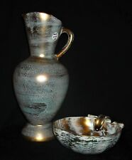 1950'S STANGL ANTIQUE GOLD EWER/PITCHER & APPLE CANDY DISH, Sgd & Numbered