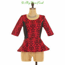 RUE 21 RED DAMASK VELVET FLORAL THICK PEPLUM 3/4 SLEEVE HOLIDAY TOP XS S B44
