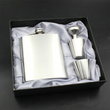 7oz Stainless Steel Pocket Hip Flask Funnel Cups Set Drink Bottle Gift AU