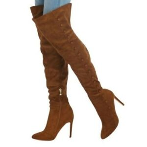 New Womens Pointy Toe Stiletto High Heel Slouch Over Knee Boots Outdoor 44/47
