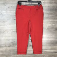 "White House Black Market Women's Size 4 Slim Crop Pants Red 24"" Inseam NEW"