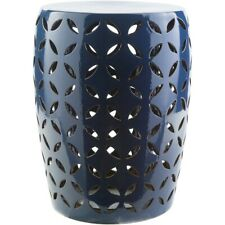 Chantilly Indoor/Outdoor Ceramic Stool by Surya, Navy - CHT760-M