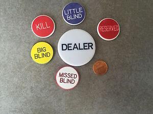 Poker DEALER BUTTON & 5 LAMMERS POKER SET Blinds USA SELLER
