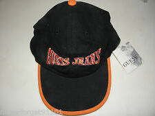 Guess Jeans Logo BaseBall Cap Hat NWT UNISEX one size black orange
