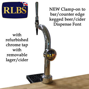New Clamp-on to Bar Edge Beer Tower Tap Column with Round Branding LED+3/16 Pipe