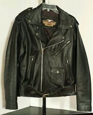 VTG Harley Davidson Leather Motorcycle Jacket Embossed Screaming Eagle Adult 42