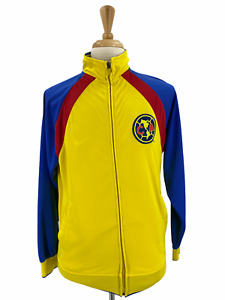 Club America Men's Jacket Size M Yellow Full Zip Mexican Soccer Track Jacket