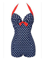 Woman's plus size retro 1960's inspired polka dot swimsuit / swimming costume