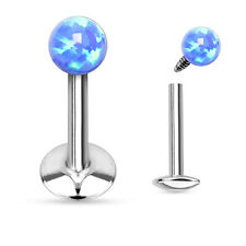 """Opal Ball Surgical Steel Helix Tragus Lip Piercing Labret Stud Barbell 16g 1/4"""""""