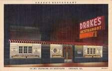 Chicago Illinois Drakes Restaurant At Night Antique Postcard K80793