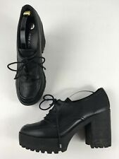 WOMENS RIVER ISLAND BLACK FAUX LEATHER LACE UP BLOCK HEEL PLATFORM SHOES UK 6