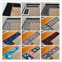 2Pcs Non-Slip Kitchen Floor Mat Bedroom Room Rug Hallway Runner Carpet Washable