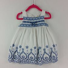 Savannah Baby Girls Dress 24 Months White Eyelet Lined Button Back