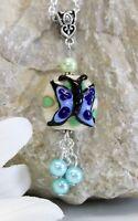 Glass Jewels Silber Kette Anhänger Lampwork Perle Schmetterling Blau #A045