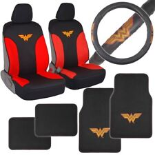 carXS Wonder Woman Waterproof Seat Covers Steering Wheel Cover & Car Floor Mats
