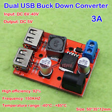 DC-DC6V-36V to 5V 3A Buck Step Down Converter Dual USB Output DIY Mobile Charger