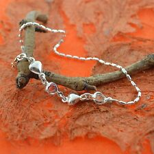 Silver- Foot,Beach,Summer,Ankle,C ute,Girl's Jewelry Heart Cz Anklet - Sterling