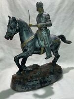 Antique Vintage Big Spelter Knight Horse Figure Statue lead soldier 28cm high