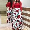 Women Lady Dress Long Sleeve Fashion Dress Floral Boho Print Long Maxi Dress UK