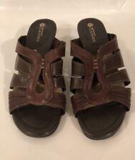 EARTH Spirit Classics Melany Women's Brown Leather Slip On Heel Sandals Size 7