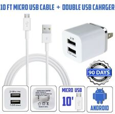 10ft Micro USB XTRA-LONG Power Cord Cable for android + double USB wall Charger