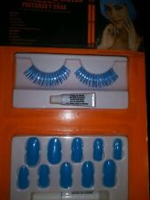 NEW NIP Halloween costume fake nails and false eyelashes blue kit NEON club