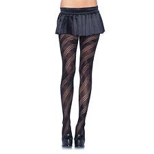 Leg Avenue Black Geometric Diamond Plaid Knit Pattern Tights One Size Fits All