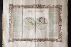 1761 - Mappemonde ancienne - DESNOS DE MORNAS - Carte du monde - old worldmap