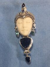 0.925 Silver Sajen Pandent/Pin With Blue Druzy,Blue Topaz And Ametyst