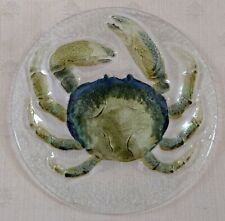 """8"""" FUSED GLASS DECORATIVE PLATE ~ Green and Blue Crab"""