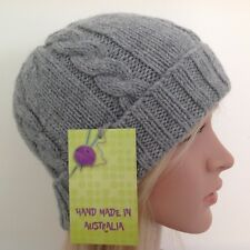 HAND KNITTED  LADIES  GREY   ARAN WOOL-ALPACA  CABLED  PANEL BEANIE HAT