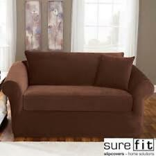 Sure Fit Brown 3pc Sofa Slipcover Pique Box Seat Cushion w/back
