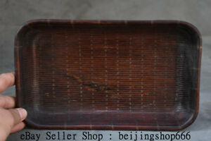 """10.4"""" Old Chinese Huanghuali Wood Hand Carved Bamboo Weaving Dynasty Plate Tray"""