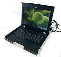 """HP TFT7600 17"""" Rackmount LCD Monitor Keyboard Mouse W/ Rails- No Cables/AC"""
