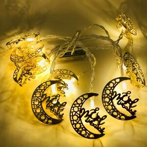 LED Eid Kareem Mubarak Ramadan String Light Moon Star Muslim Party Decoration SA