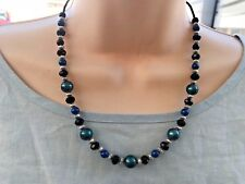 Handmade Necklace of Green and Blue Glass Pearls, Black Glass and Silver Beads