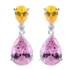 Celebrity Jewelry Yellow Citrine Pink Sapphire Prom Teardrop Dangle Earrings