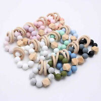 Baby Chewable Silicone Beads Teether Bracelet Teething Wooden Ring Rattles Toys